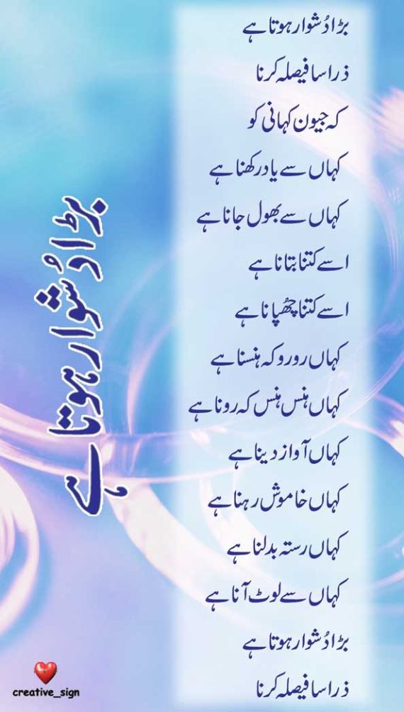 Beautiful urdu poetry